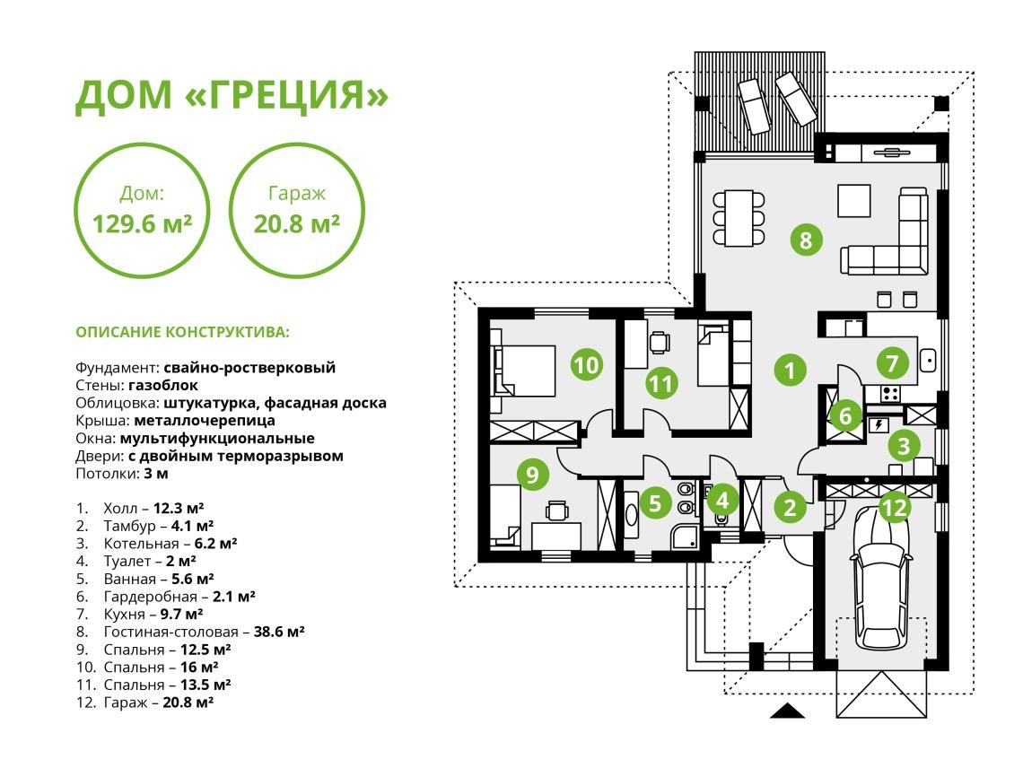 Дом Греция план
